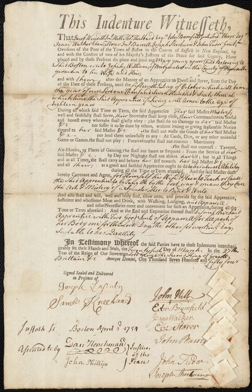 Document of indenture: Servant: Young, Mary. Master: Williams, Josiah. Town of Master: Bridgewater