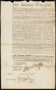 Document of indenture: Servant: Pylering, Katherine Maclainer. Master: Wells, Francis. Town of Master: Cambridge