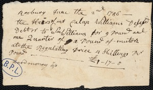 Account of William Williams