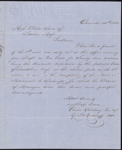 Letter acknowledging contribution for the Washington Monument, 12/14/1852