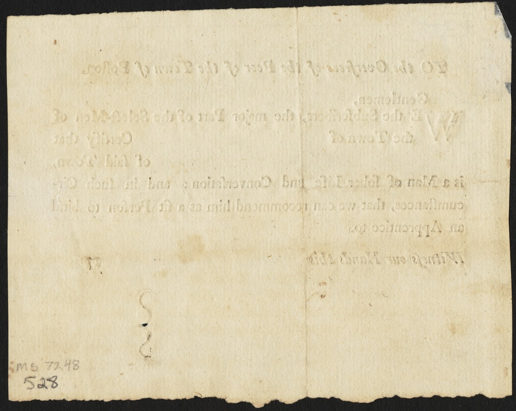 Document of indenture: Servant: Howard, Edward. Master: Abbe [Abbey], John. Town of Master: Hopkinton. Selectmen of the town of Hopkington autograph document signed to the Overseers of the Poor of the town of Boston: Endorsement Certificate for John Abbe.