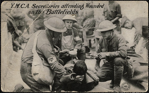 Y.M.C.A. secretaries attending wounded on the battlefields
