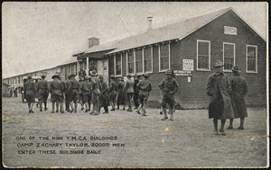 One of nine Y.M.C.A. buildings Camp Zachary Taylor, 20000 men enter these buildings daily