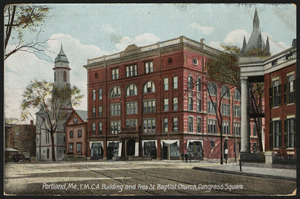 Portland, Me. Y.M.C.A. building and Free St. Baptist Church, Congress Square