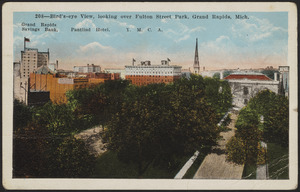 Bird's-eye view, looking over Fulton Street Park, Grand Rapids, Mich.