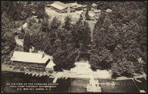 An air-view of the Cheshire County YMCA Camp Tokodah waterfront P.O. Box 661, Keene, N.H.