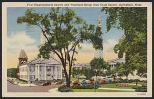 First Congressional Church and Municipal Group from Court Square, Springfield, Mass.