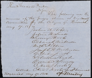 Letter from Citizens of Harwich [Mass.] to Theodore Parker, Aug. 17, 1854