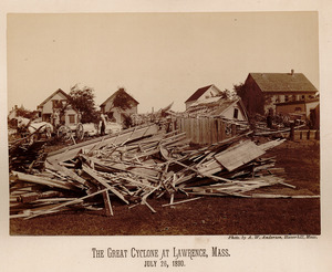 Debris, horse and wagon