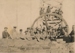 Workers on the Ayer Mill chimney