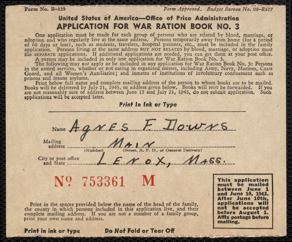 Application For War Ration Book No. 3 From Office Of Price Administration