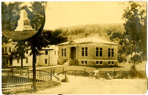 Meekins Library, 1900-1910, and Stephen Meekins' gravestone