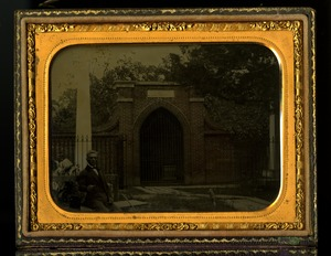 Stephen Meekins at Washington's Tomb Ambrotype, c. 1855-1861