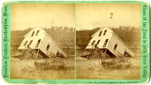 Thaddeus Bartlett's house in Skinnerville, Williamsburg, Mass., after the 1874 Mill River Disaster