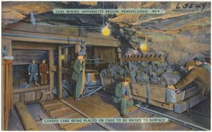 Coal mining, Anthracite Region of Pa. Loaded cars being placed on cage to be raised to surface