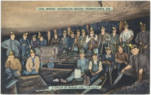 Coal mining, Anthracite Region, Pennsylvania. A group of miners and laborers