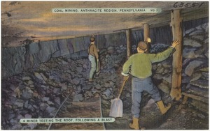 Coal mining, Anthracite Region, Pennsylvania. A miner testing the roof, following a blast