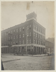 Mock-up of cornice on roof of building, construction of the McKim Building