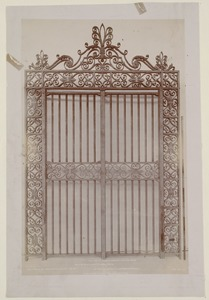 Wrought iron gates for the Dartmouth St. entrance, construction of the McKim Building