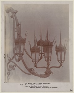 Wrought iron lamp for Dartmouth St. entrance, construction of the McKim Building
