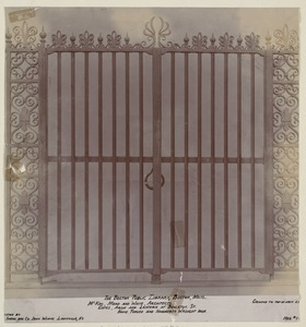 Wrought iron gate for Boylston St. entrance, construction of the McKim Building