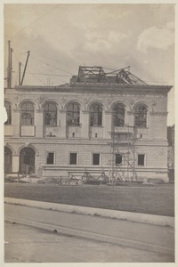 Darmouth St. Facade with cornice and roof framing at Dartmouth/Boylston St. corner, construction of the McKim Building
