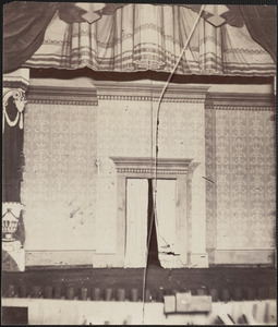 Stage scene interior of Ford's Theatre, night of Lincoln's assassination