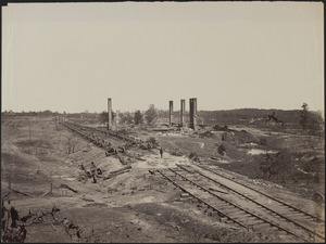 Ruins of Rolling Mill and cars destroyed by rebels on evacuation of Atlanta