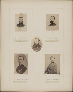Five portraits: Benjamin Harrison, L. F. Hubbard, A. Hickenlooper, John Hough, Benjamin Harrison [at center, untitled and printed in reverse]
