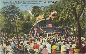 """Enjoying open air band concert in Williams Park, St. Petersburg, Florida, """"the sunshine city"""""""