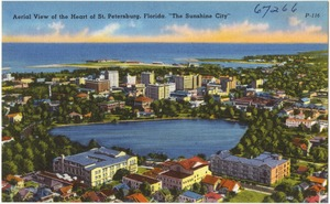"Aerial view of the heart of St. Petersburg, Florida, ""the sunshine city"""