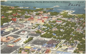 Air view of St. Petersburg, Florida, Million Dollar Pier in distance