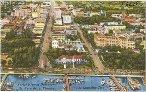 "Aerial view of downtown St. Petersburg, Florida, ""the sunshine city"""