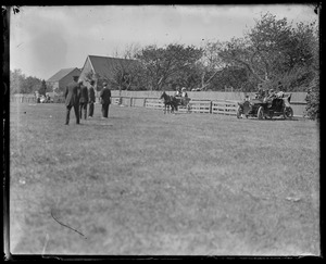 Ag fair. Auto (prob. made by 1910), people, pony cart