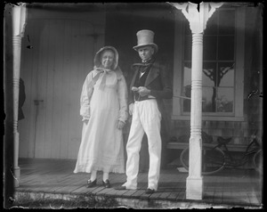 L-R: Georgia Davis & her bro., James Whiting, at front steps of ag. hall (note wooden porch)