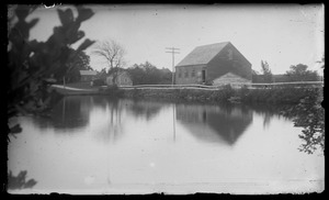 W. Tisbury mill pond prob. taken from opp, shore. Shows mill, Clif Athearn's house behind tree
