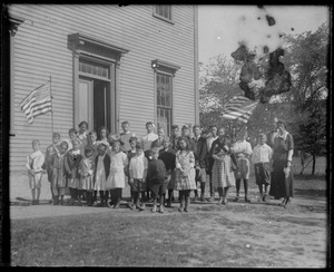 35 school children, West Tisbury school academy building. Front entrance then on State Road