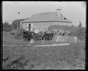WT - James Adams' barn. He is threshing grain