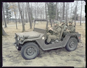 CEMEL, new helmet and body armor in jeep