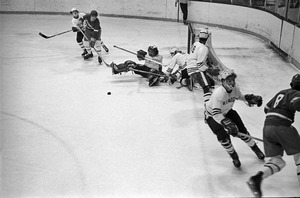 Amateur hockey action, Boston Garden