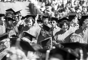 Boston University graduation at BU field, Charles River, Boston