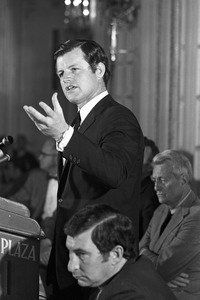 Ted Kennedy makes speech, Boston