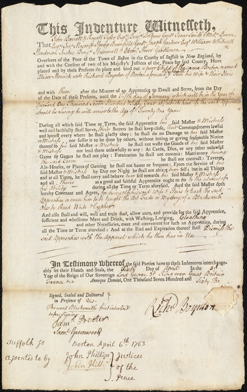 Document of indenture: Servant: Merrick, Oliver. Master: Boynton, Richard. Town of Master: Boston