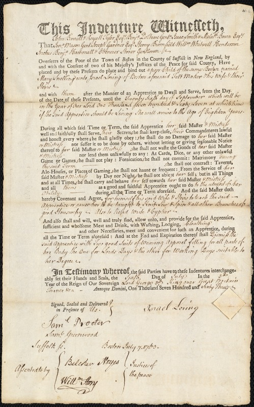 Document of indenture: Servant: Snelling, Mary. Master: Loring, Israel. Town of Master: Boston