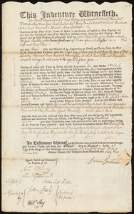 Document of indenture: Servant: Buckley, Abigail. Master: Graham, James. Town of Master: Boston