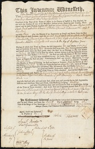 Document of indenture: Servant: Burk, Sarah. Master: Flowers, John. Town of Master: Boston