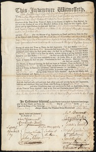 Document of indenture: Servant: Turner, Mary. Master: Patterson, Joseph. Town of Master: Ware