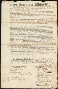 Document of indenture: Servant: Blancher, Ebenezer. Master: Langdon, Edward. Town of Master: Boston