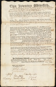 Document of indenture: Servant: Welch, Patrick. Master: Emmons, Samuel. Town of Master: Boston