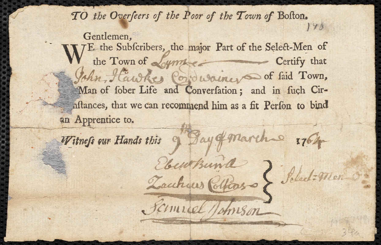 Document of indenture: Servant: Prince, Joseph. Master: Hawkes, John. Town of Master: Lynn. Selectmen of the town of Lynn autograph document signed to the Overseers of the Poor of the town of Boston: Endorsement Certificate for John Hawkes.
